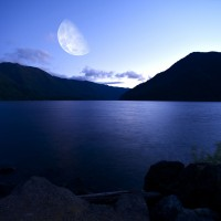 Crescent Lake at night