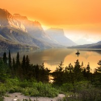 Sunrise at Wild Goose Island Inside Glacier National Park